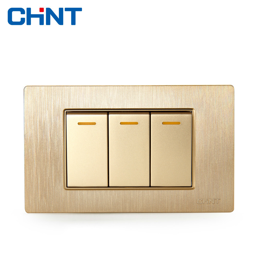 CHINT Electric 118 Type Switch Socket NEW5D Brushed Gold Embedded Steel Frame Three Gang Two Way Switch scinder switched socket package 15 steel frame two or three five hole electrical outlet wall switch panel switch