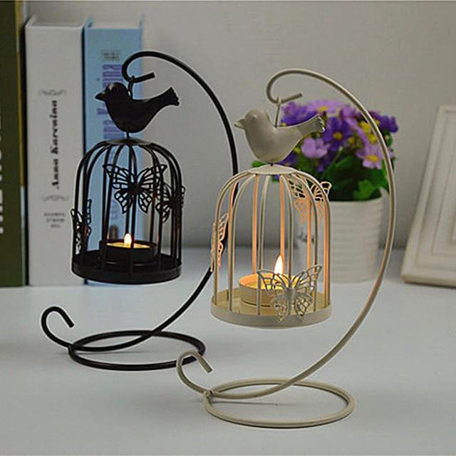 Hanging Design Metal Vintage Bird Cages Lantern Candlestick Wedding Home Decor Cage Candle Holder T16