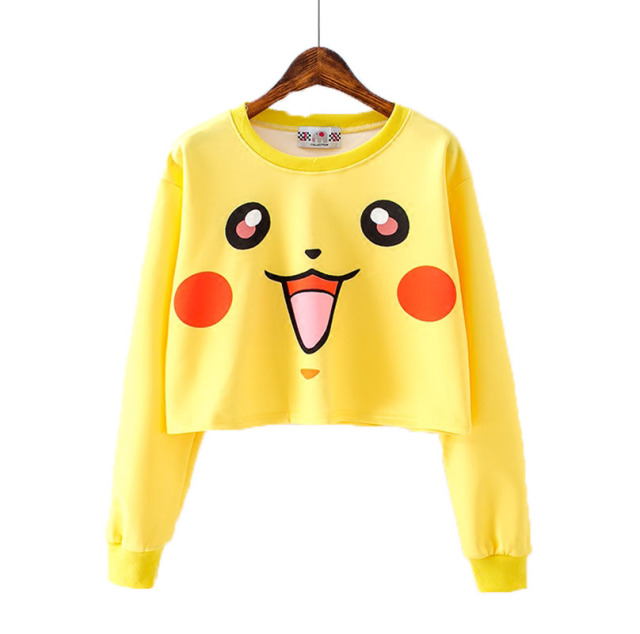 Harajuku Short T Shirt Women Casual Kawaii Cartoon Pikachu Crop Top 2016 Autumn Korea Girl Long Sleeve Slim Tops Femininas