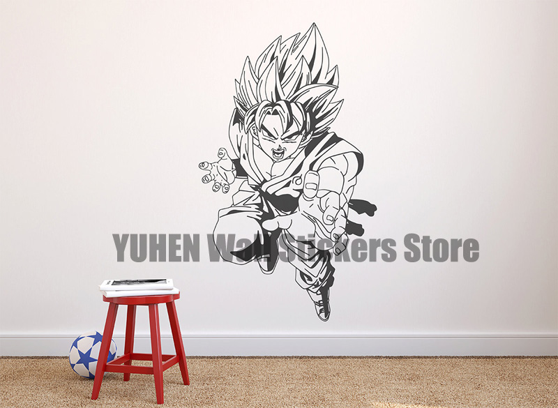 Saiyan Wall Stickers Anime Cartoon Dragon Ball Characters Boys S Bedroom Vinyl Removable Wallpapers In From Home Garden On