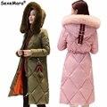 2016 Russian Hot Winter Women Long Coat Thick Down Warm Cotton Hooded Coats Knee-Length High-Quality Woman Winter Parkas Outwear