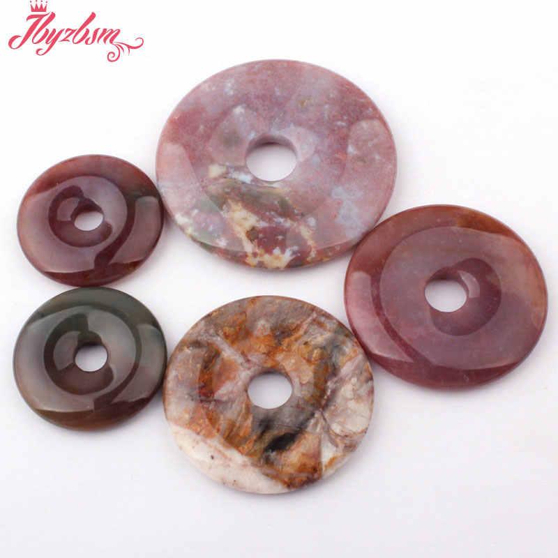 30,40, 50mm Natural Multicolor Ágatas Pedra Donut Rodada Indiano Bead 1 Pc Para DIY Fazer Jóias Colar Acessórios, frete Grátis