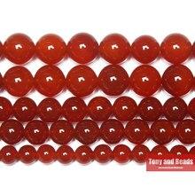 Kırmızı Carnelian akik yuvarlak mücevher boncuk 15