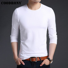 COODRONY White T Shirt Men Bottoming Tshirt Clothes 2019 Autumn Classic Pure Color T-Shirt Cotton Tee Homme 95018