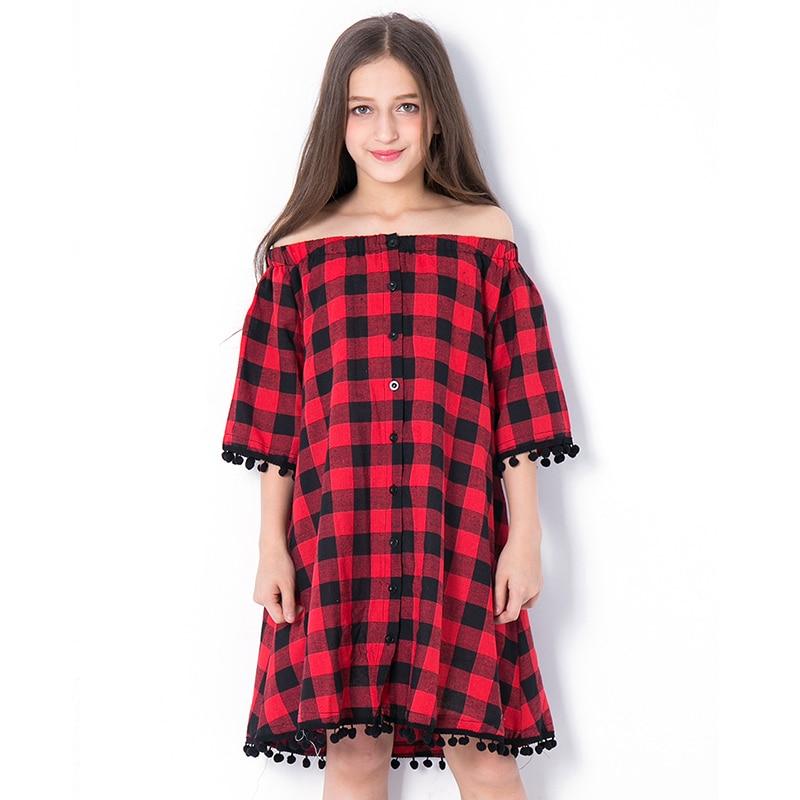 2018 Vestido de Verão da menina Fora Do Ombro Strapless Solto Botão Xadrez Vermelha Meia Manga Vestidos Adolescentes Vestidos Roupa das Crianças