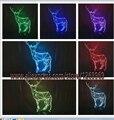 Envío libre regalo de Navidad Alces ciervos 3D lámpara de la decoración del hogar luz de la noche de cambio de 7 colores LED de la boda dormitorio salón bar cafe