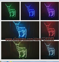 free shipping Christmas gift deer 3D Elk lamp home decoration night light 7 color change LED