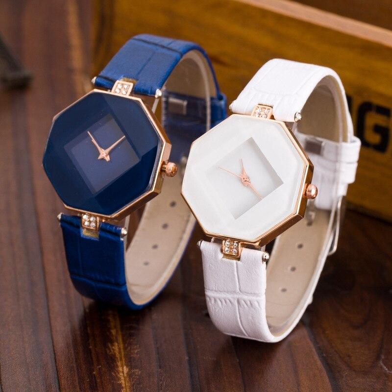 Fashion Casual Quartz Watches Women Leather Strap Analog Wristwatches Female Clock Irregular Women Watches Relogio Feminino