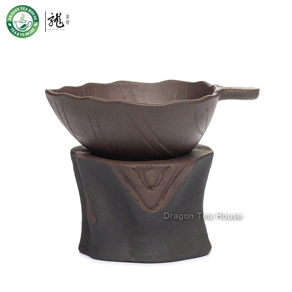 Tree Stool Brown Yixing Zisha Clay Chinese Kungfu Tea Mesh Tea Strainer Stand