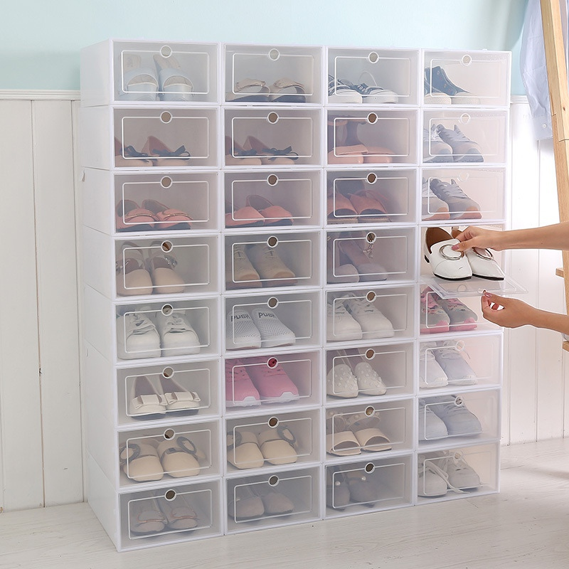 Shoes-Box Drawer-Organizer Transparent-Storage Foldable Household DIY