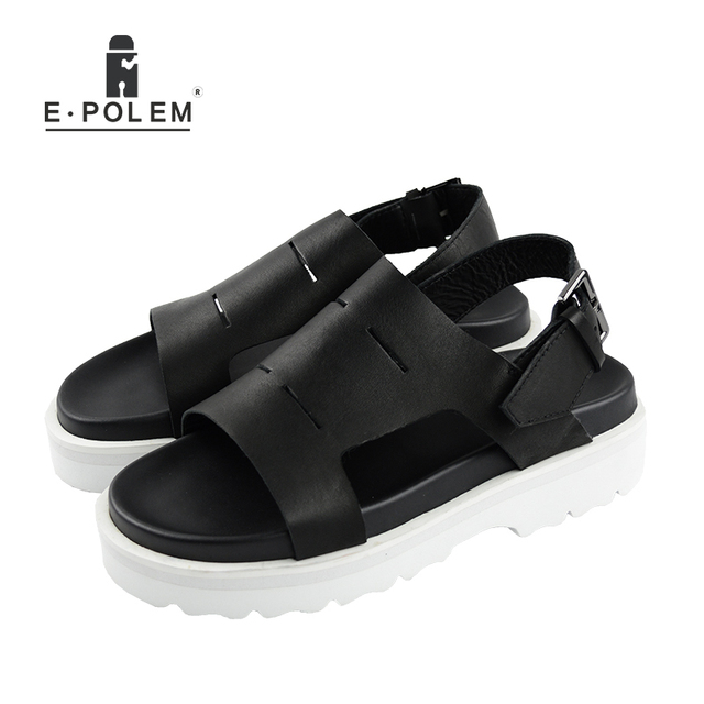 2018 Summer New Style Men Black Retro Breathable Genuine Leather Beach Sandals Fashion Casual Height Increasing Platform Sandals