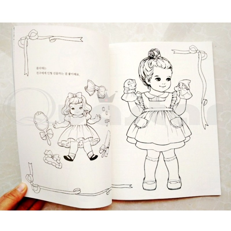 De moda de Corea Muñeca de Papel Linda Chica libro para colorear + ...