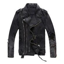 חדש אופנה היי רחוב Mens Ripped ג ינס מעילים עם רב רוכסנים Streetwear במצוקה אופנוע אופנוען מעיל