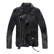 New Fashion Hi Street Mens Ripped Denim Jackets With Multi Zippers Streetwear Distressed Motorcycle Biker Jeans Jacket
