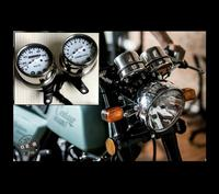 XUANKUN Cafe Racer Retro Motorcycle Modified Stainless Steel Meter Dual Table Odometer Tachometer Table Meter