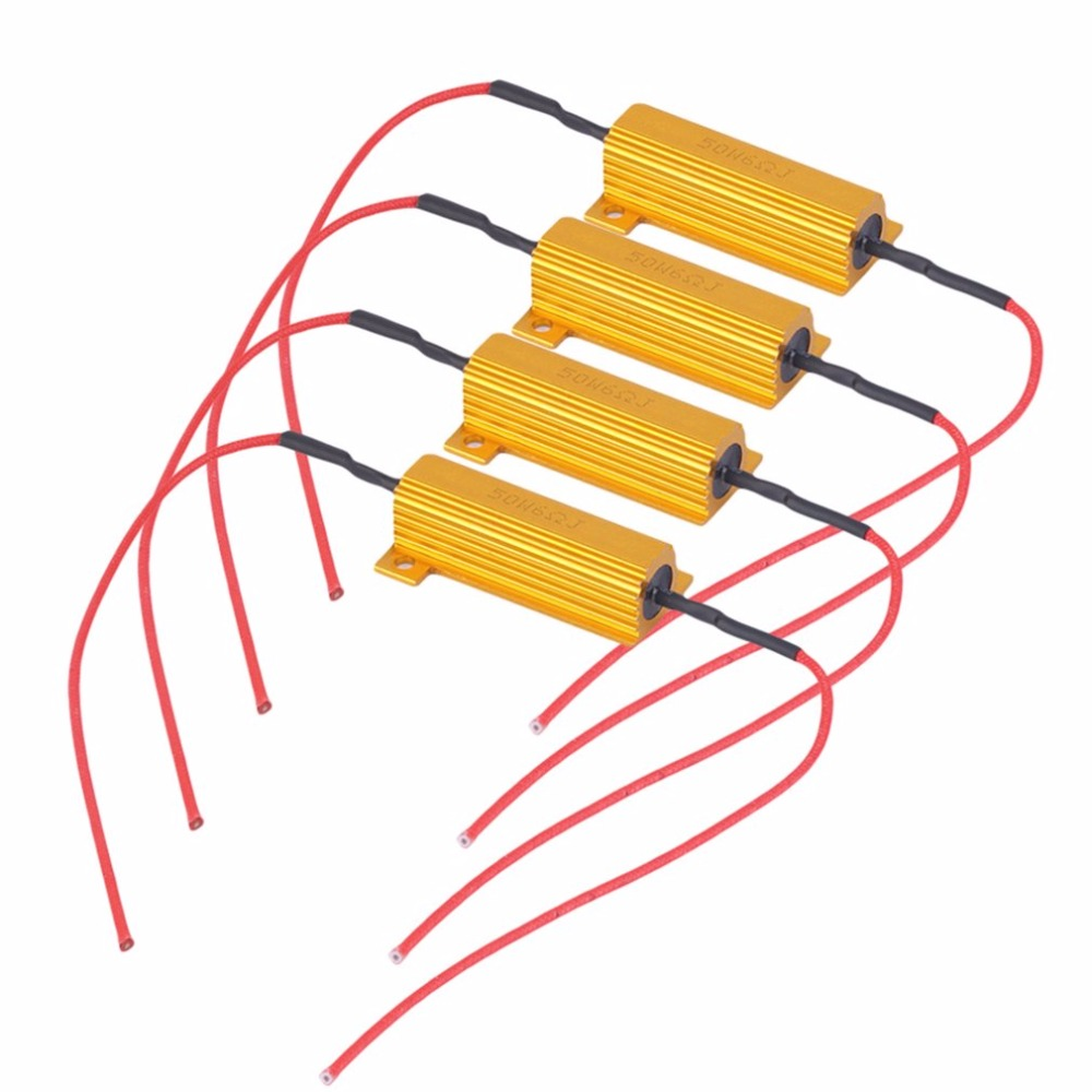 4pcs 50W 6Ohm Car LED DRL Fog Turn Singal Load Resistor for Fix LED Bulb Fast Hyper Flash Turn Signal Hot Selling