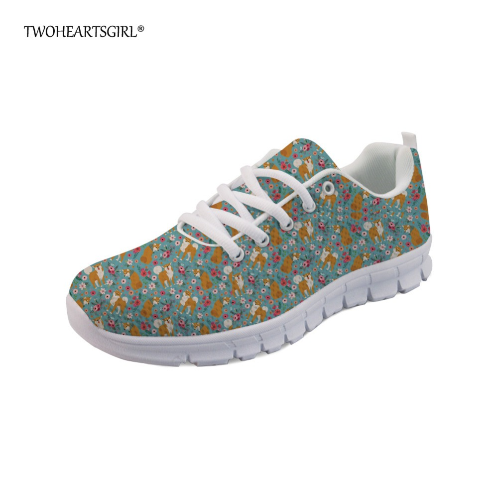 Twoheartsgirl Shiba Inu Sneakers Women Casual Flats Cute Dog Floral Printed Sneakers for Woman Students Breathable Flat Shoes cartoon dog plush pillow shiba inu