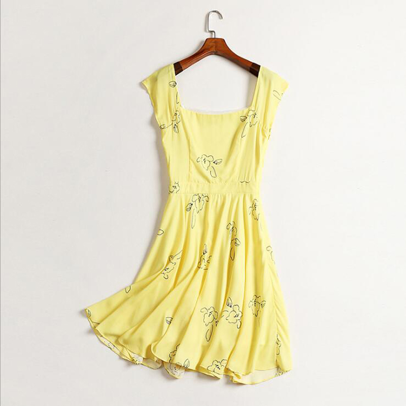 3598a13f3d69 MYCOURSE New Casual Women Summer Dress Yellow Short Sleeve Printing Party  Dresses Ladies Sexy Style Sundress Female Dresses -in Dresses from Women's  ...