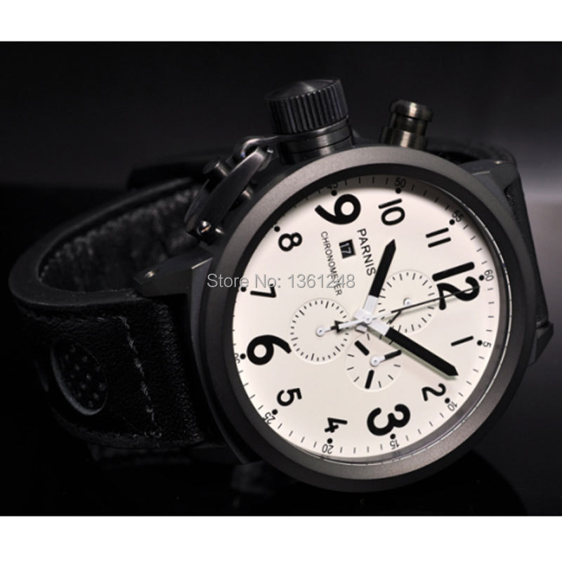 50mm Parnis Big Face white dial PVD case day date mens quartz WATCH Full chronograph P5950mm Parnis Big Face white dial PVD case day date mens quartz WATCH Full chronograph P59