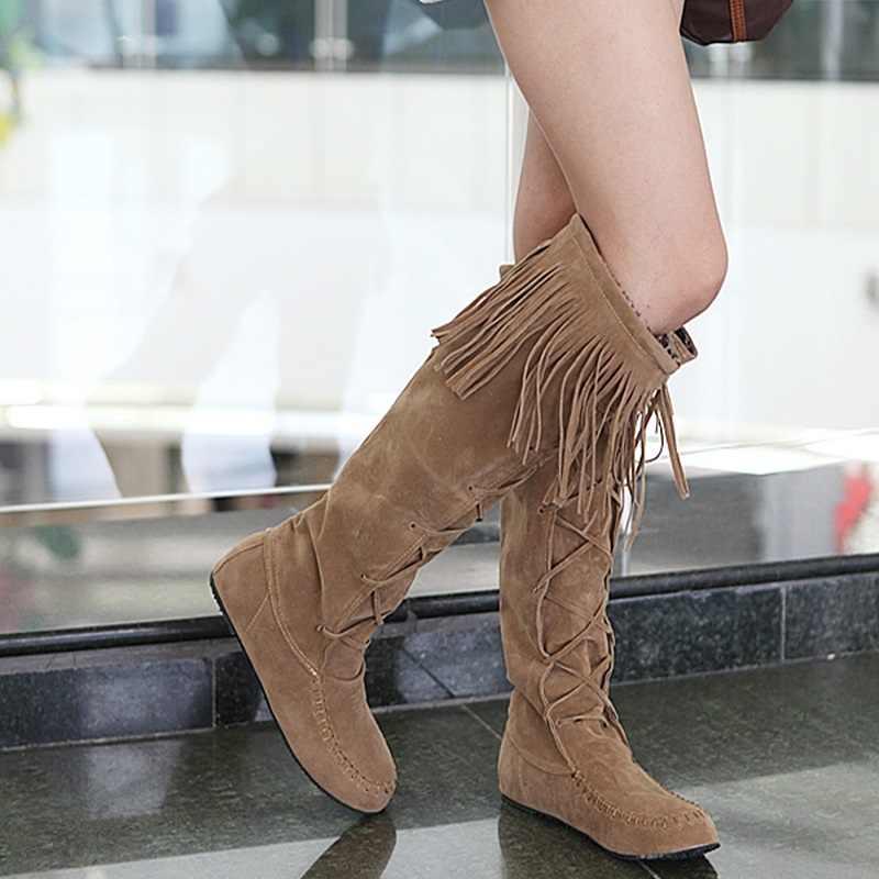 EGONERY kış diz yüksek çizmeler bayanlar purl çapraz bağlı yuvarlak ayak bayanlar ayakkabı kış 4 renk siyah pembe kahverengi moda çizmeler kadın