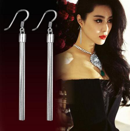 EY805 Bridal Fashion silver wedding jewelry long tassel Chain earrings female pendant chain hanging hook earrings