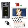 10 дюймов отпечатков пальцев IC карта видео домофон дверной звонок с система контроля допуска к двери Ночное Видение безопасности CCTV камера