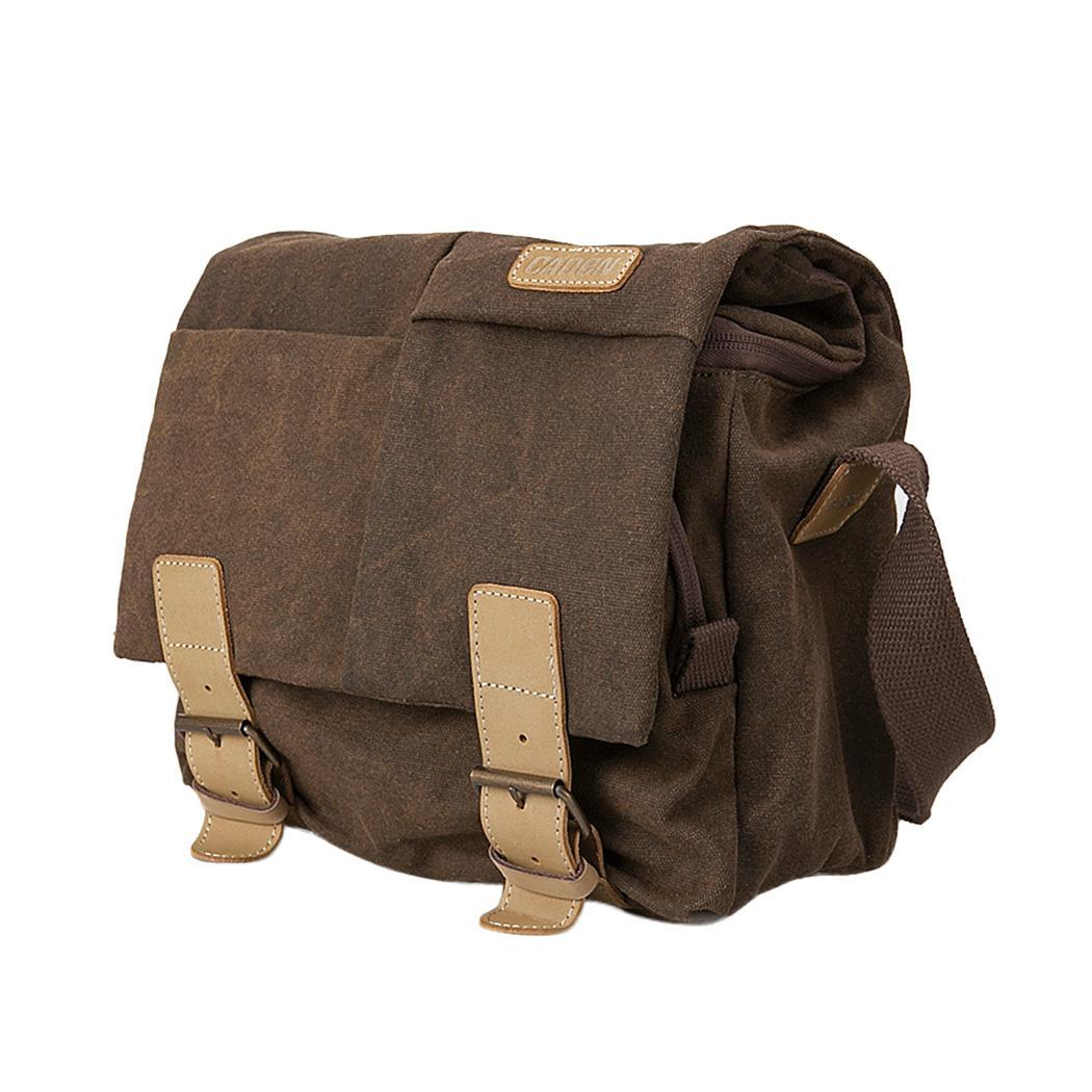 Waterproof and Shockproof SLR Digital Camera N2, N4 Photography Dark Brown Canvas Shoulder Solid Bag Buckle
