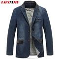 LONMMY М-4XL Ковбой пиджак джинсы куртка мужчины jaqueta Хлопка ПУ кожа шить Джинсовые куртки мужчины пиджак Костюмы для мужчин новый