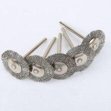 5Pcs Dremel אביזרי נירוסטה חוט גלגל מברשות סט ערכת מיני תרגיל מטחנת רוטרי כלים ליטוש Dremel מברשת