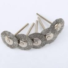 Kit de brosses à roues métalliques en acier inoxydable, accessoires pour Mini perceuse et broyeur, outils rotatifs de polissage Dremel, 5 pièces