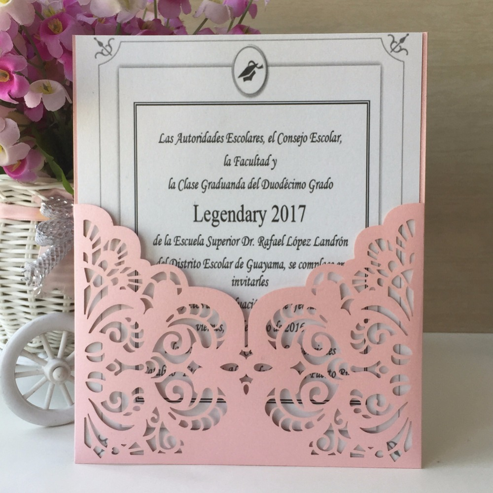 50pcs Laser cut Glamorous Wedding Invitations Decoration Card ...