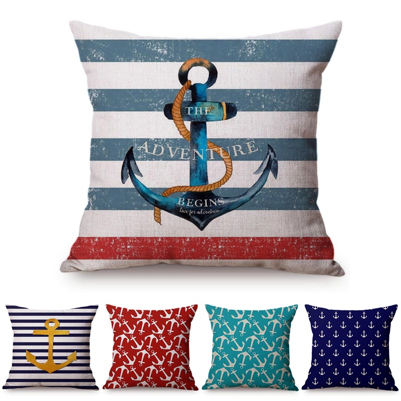 Navigation Navy Blue Golden Nautical Anchor Striped Linen Pillow Cushion Cover Sofa Piaochuang Pad Home Decoration Pillowcase