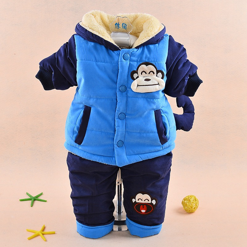 New 2017 Baby boys winter clothing suit set warm down jacket+pants long sleeve coat cute cartoon infant toddler