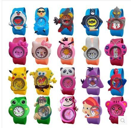 2018 New Fashion mixed style Cartoon Watch Children Silicone Quartz WristWatch Slap Cute Gift hot Sale 1pcs