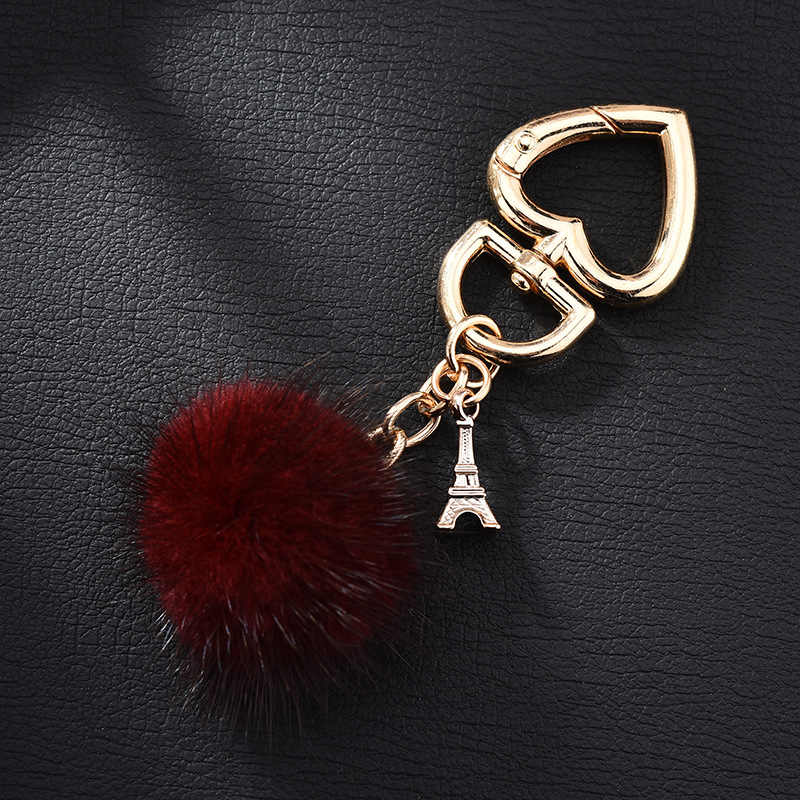 Novo Realmente bola de pêlo de vison água pele cadeia de coração chave Charme amor anel chave do carro chaveiro pingente de pelúcia do presente do partido jóias K3003