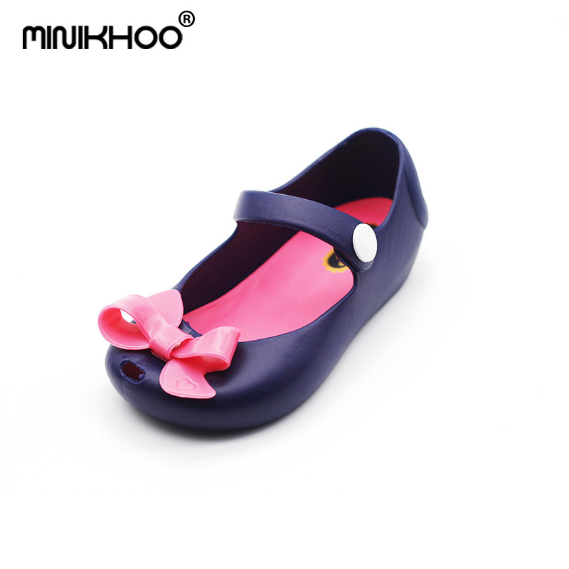 Mini Melissa 2018 Brand Bow Jelly Sandals For Girl Children Shoes Baby Sandals MINI Shoes Beach Sandals Non-slip Girls Sandals