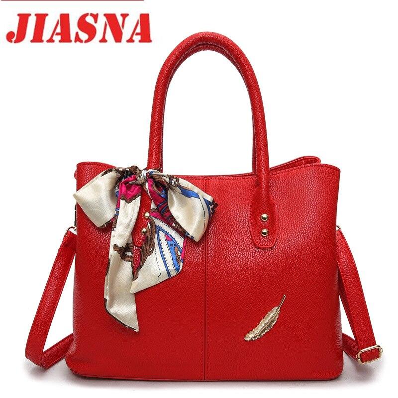 JIASNA New Fashion Style Women Handbag Ladies Shoulder Bags PU Leather Large Tote Bag Soild  High Quality Free Shipping milardo amur amusb00m01