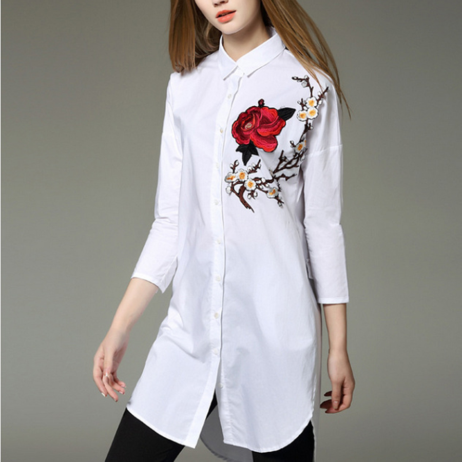 White shirt women rose floral embroidery blouse summer for Women s broadcloth shirts