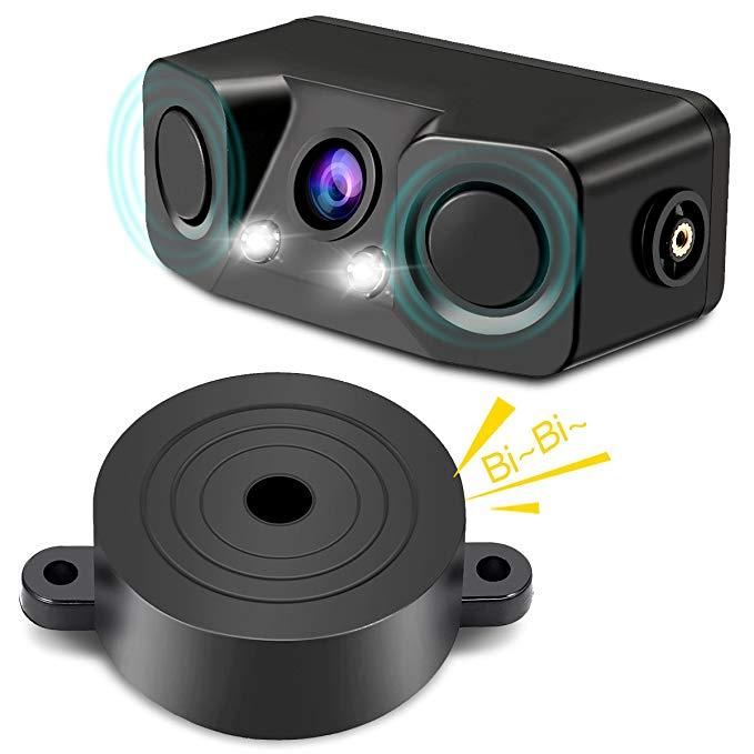 Threecar Parking-Sensor Rear-View-Camera Reverse-Backup Anti-Car 3-In-1 Video With 2-Radar-Detector