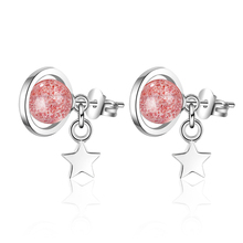 Everoyal Luxury Crystal Pink Star Stud Earrings For Women Accessories Fashion 925 Sterling Silver Girls Hot