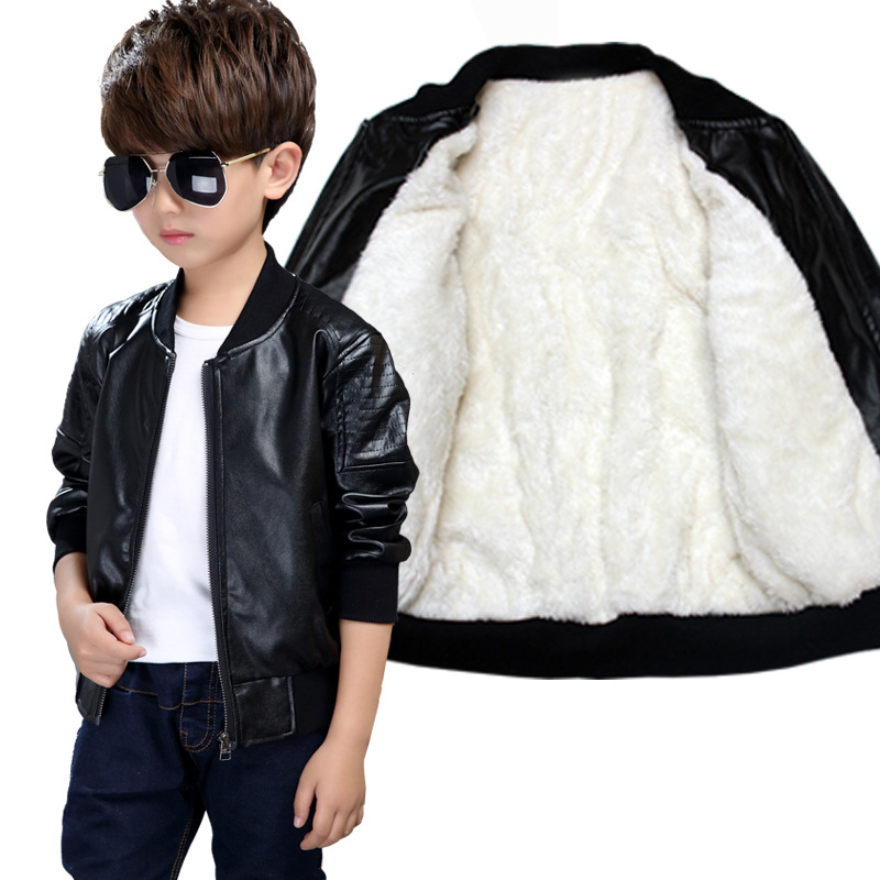 Boys Coats Autumn Winter PU Leather Jacket Children's Plus Velvet Warming Cotton Outerwear Baby Boys Thin jacket Kids Clothing plus size pu leather panel plaid open front jacket