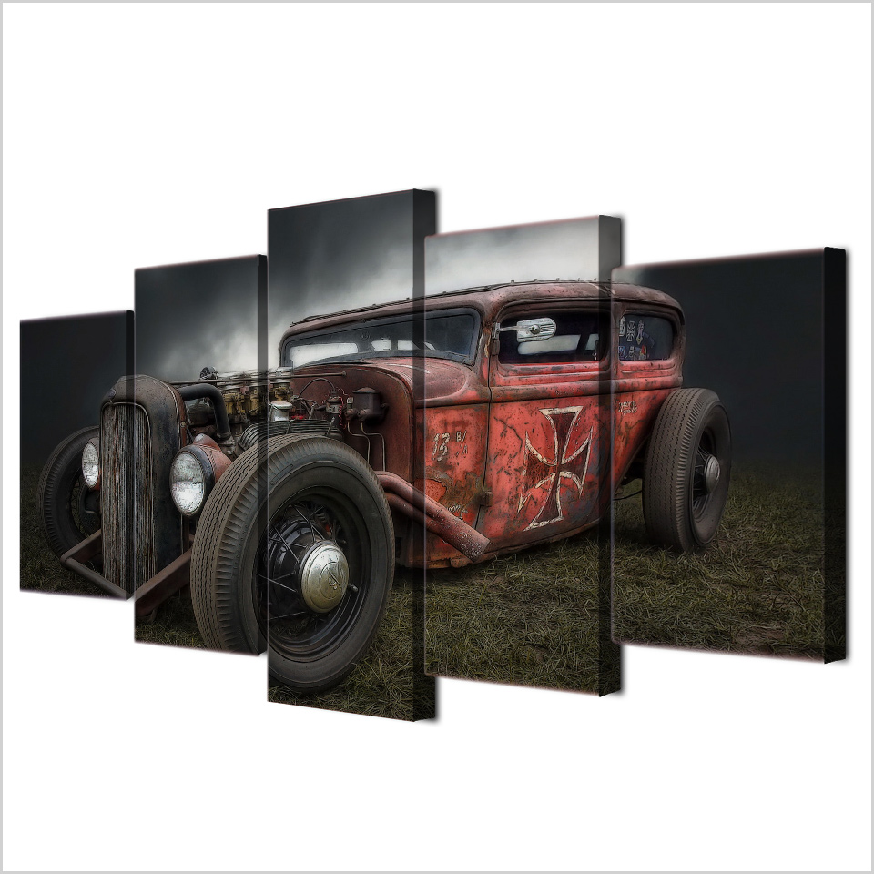 Online shop painting canvas wall art pictures frame home decor for online shop painting canvas wall art pictures frame home decor for living room 5 pieces antique hot rod vintage car hd poster printed pengda aliexpress amipublicfo Images