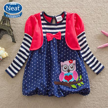 NEAT new wholesale 2016 baby&kids autumn long-sleeved cotton embroidered bow baby girl clothes dress kids clothes dresses LG006#