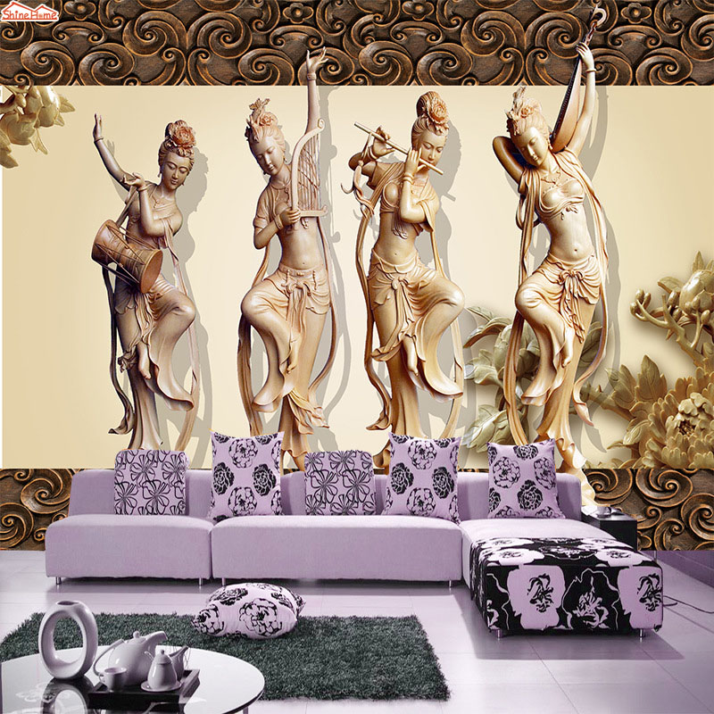 ShineHome-Retro Chinese Classical Dancing Girl 3d Wallpaper Murals for Walls Roll 3d Wall Paper Rolls Papel Pintado Pared Rollos