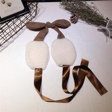 Зимние наушники с лентами, регулируемые теплые женские утолщенные наушники с бантом для студентов, подарок для девочек, мягкие плюшевые наушники для ушей, PS-30