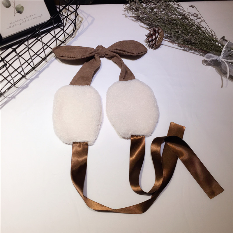 Ribbon Winter Earmuffs Adjustable Warm Female Thickened Student Bow Earmuffs Girls Baby Gift Plush Soft Ear Muff PS-30