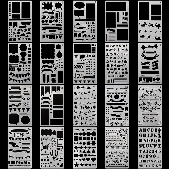 A6 DIY Drawing Stencil Ruler Alphabet Stencil Drawing Ruler For Kids 20 Different Patterns Per Set