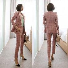 ef0f85ba2 Primavera y otoño nuevo OL moda cruzado pequeño traje rosa a cuadros Delgado  alta calidad profesional Set pantalones de dos piez.