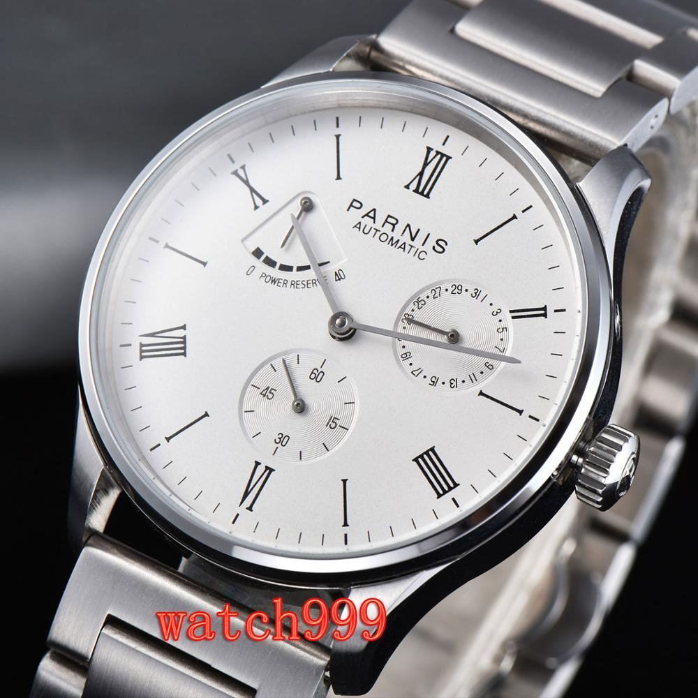42mm Parnis white dial Power Reserve automatic mechanical mens Watch Stainless steel bracelet men's clock|Mechanical Watches|   - title=