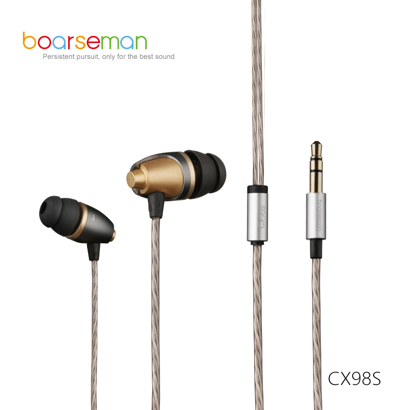 100% Original Boarseman CX98S In Ear Earphone 3.5MM Bass Hifi Headsets Dynamic Earbuds For iPhone Xiaomi Phones Computer MP3 MP4 original senfer xba 6in1 1dd 2ba hybrid 3 drive unit in ear earphone hifi earphone with mmcx interface headsets for phones pc